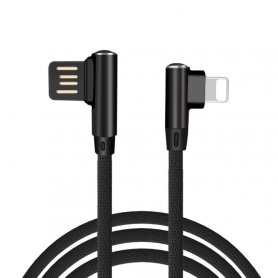 Apple Lightning cable for mobile phone charging of all iPhone models with 90° design of connector and 1m length
