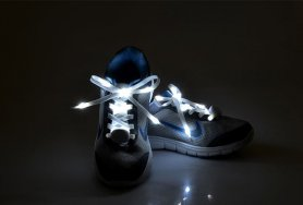 Flashing LED shoe laces - white