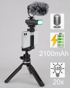 Tripod for vloggers - SETfor smartphone with LED light and external microphone
