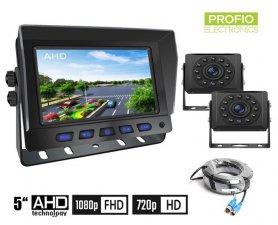 """ชุดกล้องจอดรถ AHD/CVBS LCD HD - จอมอนิเตอร์รถยนต์ไฮบริด 2CH 5"""" + กล้อง HD 2x พร้อมการมองเห็นกลางคืน IR LED 11 ตัว"""