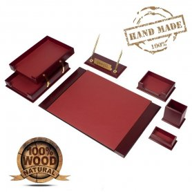 Luxury office accessories SET 8 pcs for work table (Walnut + Leather Bordeaux)