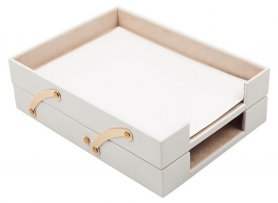 Letter trays - luxury office document tray (white leather) + gold accessories (Handmade)