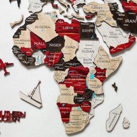 Nagy világtérkép - 3D-s wodden map a falon - URBAN 150 cm x 90 cm