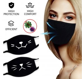 Black face mask - 100% cotton with design HEART