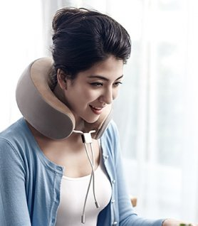 Rounded neck pillow with integrated intelligent massager - iNeck3