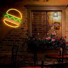Reklamné LED svietiace neon logo na stenu - BURGER