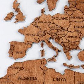 Mapa de madeira na decoração de parede - cor carvalho 100 cm x 60 cm
