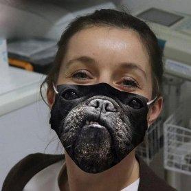 Maschera viso MOPS protettiva con motivo animale 3D