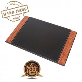 Leather desk blotter - Luxury writting mat (Rosewood + Leather) handmade