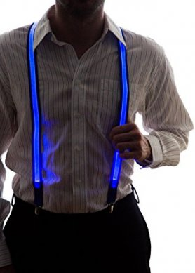 Light up suspenders for men - blue