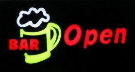 """Panneau LED promotionnel avec la description """"BAR Open"""" 43 cm x 23 cm"""