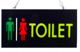 "LED light panel with ""TOILET"" sign 43 cm x 23 cm"