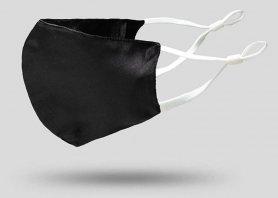 Maschera e rivestimenti viso Luxury 100%seta 2 strati - Nero