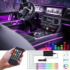 LED farebnépásy pre osvetlenie interiéru auta - 4x18 RGB LED svetiel + DO + zvukový senzor