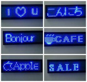 Étiquette de nom de LED - Bleu 9,3 cm x 3,0 cm
