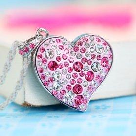 USB bijuterie inima cu diamante cu pin