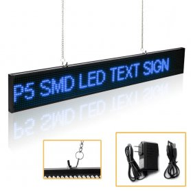Text LED boards programmable with WiFi support - 82 cm x 9,6 cm blue