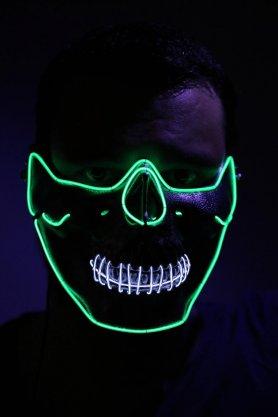 LED blikající rave kukla na obličej - zelená lebka