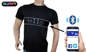 LED T-shirt with programmable text via Smartphone - GLUWY