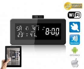 Meteo station with radio and FULL HD rotary WiFi camera 330° - micro sd to 128GB