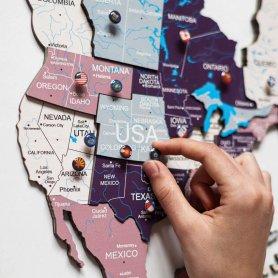 Mapa de parede de madeira 3D do mundo PASTEL - 300 cm x 175 cm