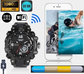 Watches camera - spy watch + Wifi + 32GB memory + IP67 protection