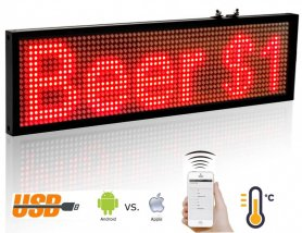 Led Message Board mit WiFi - rot 34cm x 9,6 cm