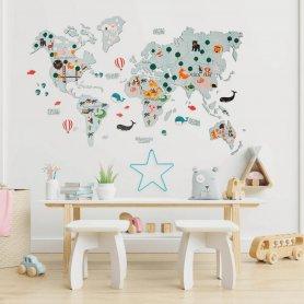 Mapamundi infantil en la pared 2D - ROSA 200x120cm