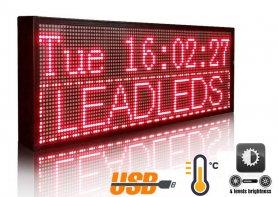 Placă LED cu afișare promoțională cu text în mișcare - roșu de 76 cm x 27 cm