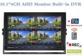 """Hybridní 10.1 """"monitor do auta: 4-CH, AHD / CVBS s nahráváním na micro SD kartu (do 256 GB) pro 4 kamery"""