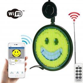 Автомобилен LED RGB екран кръгъл знак - Програмируем Wifi управление чрез App