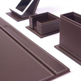 Podkładki stołowe - Elegancki zestaw biurowy 4 szt. - Brązowa Skóra (Hand Made)