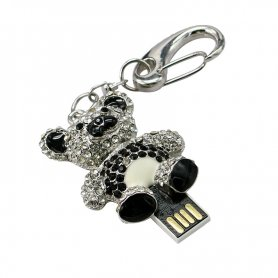 Подарунковий флеш-накопичувач USB - плюшевий ведмідь, прикрашений стразами