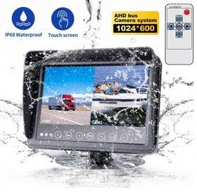 """จอภาพกันน้ำสำหรับเรือ/เรือยอชท์/เครื่องจักร 7"""" AHD LCD พร้อมการป้องกัน (IP68) + อินพุตกล้อง 2 ตัว"""