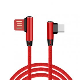 USB Type C cable connector with 90° design and 1 m length in knitted design