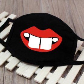 Masks on face textile 100% cotton - pattern Toothy smile