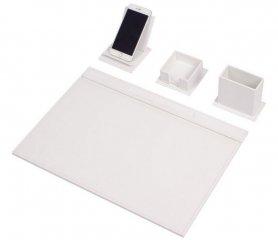 Skórzany zestaw na biurko do biura - zestaw 4 szt .: Biała skóra - ręcznie robiony
