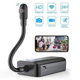 Pinhole Full HD kamera s otočným husím krkem + 5000mAh baterie + WiFi / P2P + detekce pohybu