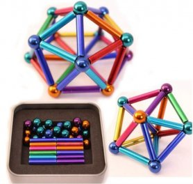 ​Magnetic multicolored rods 36pcs + Silver balls 27pcs