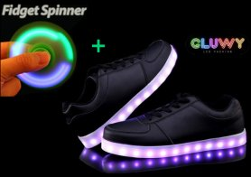 Las luces del zapato LED - negro
