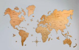 Wall decoration map made from natural light wood 100 cm x 60 cm
