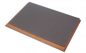 Desk blotter - luxury design (Wood + Gray Leather) 100% Handmade