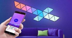 Smart svietiace nástenné LED panely trojuholníky - Set 9ks(Android/iOS/)