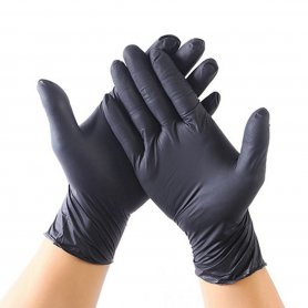 Black nitrile gloves for hand protection against viruses and bacterias