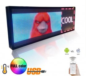 Wifi LED banner - Pantalla a todo color de 100 cm x 27 cm