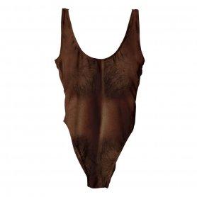 Hairy ladies swimsuit with masculine print - dark