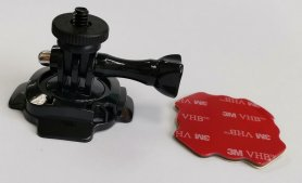 Adhesive rotating helmet holder for POV camera