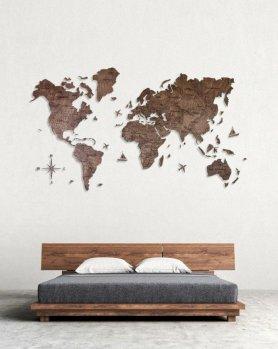 Mapa de parede do mundo - cor de nogueira escura 200 cm x 120 cm