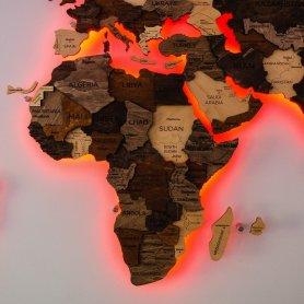 3D mapa světa na stěnu - odstíny dřeva s RGB LED podsvícením - rozměr 150cm x 90cm