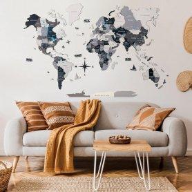 Mapa de viagem Mapa mundial de madeira em 3D na parede - NORD 100 x 60 cm